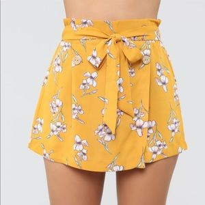 It's All Love Tie Waist Short in Mustard